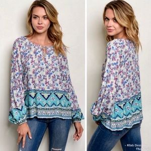 RELAXED FIT MULTICOLOR TIE FRONT TUNIC SMALL NEW